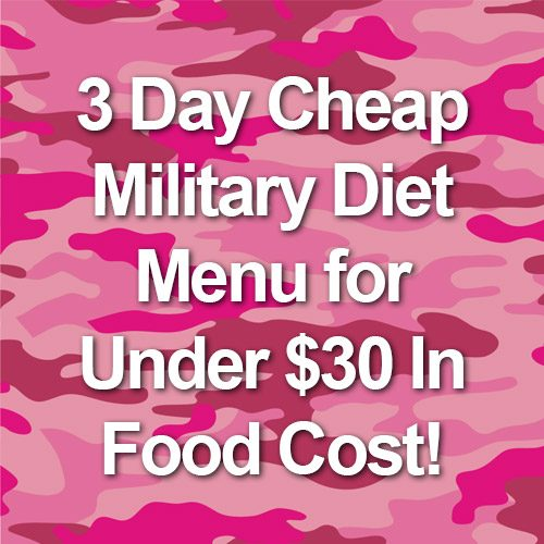 3 Day Cheap Military Diet Menu for Under $30 In Food Cost!